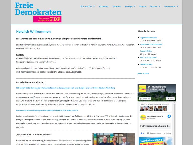 Relaunch der Webseite FDP Heiligenhaus