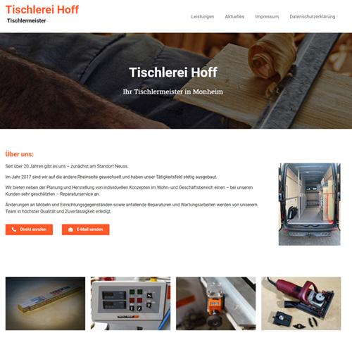 Homepage für einen Tischlermeister in Monheim